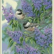 Dimension 35258 Chickadees and Lilacs